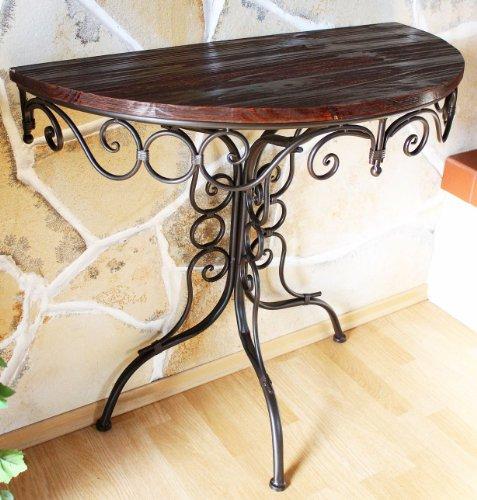 DanDiBo Tisch Halbrund Metall Wandtisch Holz HX12582 Beistelltisch Konsole 82 cm Wandkonsole