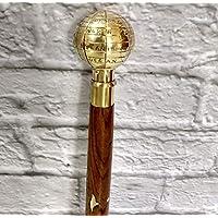 Decor&Style Antique Brass World Globe Wooden Walking Stick/Cane Vintage Victorian Canes