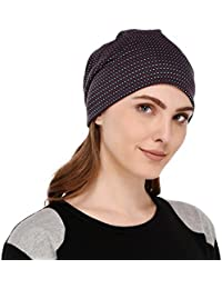 VR Designers Soft Printed Multipurpose Fabric Jersey Beanie Cap for Women, Free Size, Suitable for All Seasons