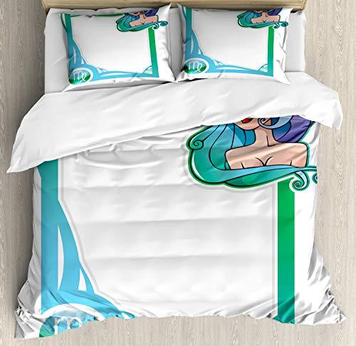 ABAKUHAUS Sternzeichen Jungfrau Bettbezug Set Doppelbett, Cartoon-Rahmen-Mädchen, Kuscheligform Top Qualität 3 Teiligen Bettbezug mit 2 Kissenbezüge, Mehrfarbig