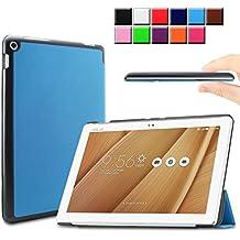 Infiland ASUS ZenPad 10 LTE Z300C Funda Case-Ultra Delgada Tri-Fold Smart Case Cover PU Cuero Smart Cascara con Soporte para ASUS ZenPad 10 (Z300C) (10,1 pulgadas) SM-T530 SM-T535 Tablet-PC (con Auto Reposo / Activación Función)(Azul Claro)