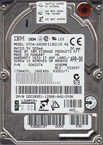 dtca-24090, PN 00K0374, MLC f03057, IBM 4GB IDE 2,5Festplatte - Ibm-ide-festplatte