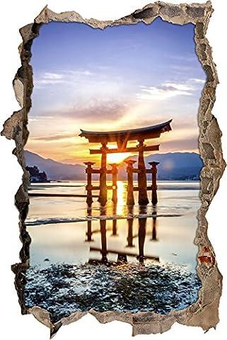 Pixxprint 3D_WD_S2397_62x42 wundervolles Torii Gate bei Sonnenaufgang in Japan Wanddurchbruch 3D Wandtattoo, Vinyl, bunt, 62 x 42 x 0,02 (Usa Zu Weihnachten)