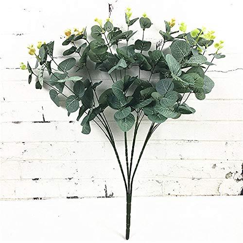 WHUPMA 16 Köpfe Eukalyptus Bouquet Äste Seide Künstliche Blätter Dekoration DIY Blumenarrangement Pflanze Faux Laub