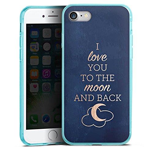 Apple iPhone 7 Silikon Hülle Case Schutzhülle Sprüche Moon I Love You Love Silikon Colour Case eisblau