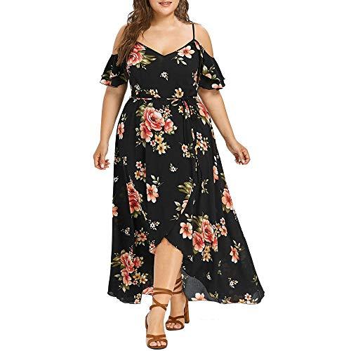 YEBIRAL Damen Kleider L-XXXXXL Große Größen Mode Blumen Druck V-Ausschnitt Raffung Kurzarm Sommerkleider Freizeit Swing Kleider(XXXXX-Large,Schwarz) - Plus-size-barbie-puppe Shirt