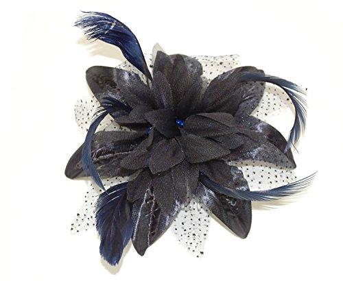 Fleur en tulle, plumes et filet sur peigne Choix de 9 couleurs - Bleu - Taille unique