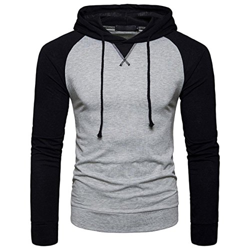Moonuy,Herren Long Sleeved Hoodies, Casual Charme Top Bluse Bangdge Pullover Fashion & Sport Dünne Bluse, Boy Casual Patchwork Kapuzenpullover mit Kapuze T-Shirt (Grau, EU 38 / Asien L) (Hollister Pullover Weiß)