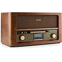 auna Belle Epoque 1906 • Equipo estéreo • Minicadena retro • DAB+ • Radio digital • Bluetooth • Reproductor de CD • MP3 • USB • RDS • Digitalizador • Diseño vintage • Madera