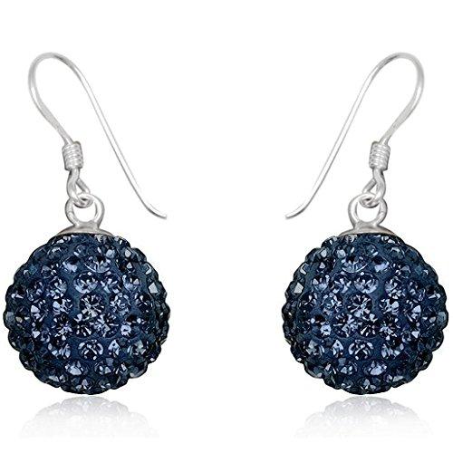 EYS JEWELRY Damen-Ohrhänger Perlen 925 Sterling Silber Preciosa Elements Glitzer Kristalle 28 x 14 mm montana-blau Ohrringe (Montana Silber Ohrringe)