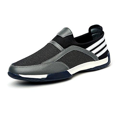 Do.BOMRVII Herren Breathable Sport-Leder-Mesh-Schuhe Slip-on Loafers Turnschuhe laufen Grau