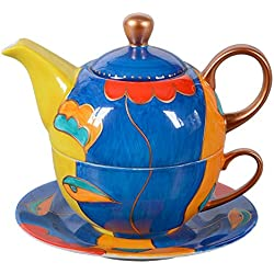 Tetera y taza de té pintadas a mano, 400ml