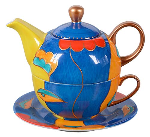 Tea for one - Tetera y taza de té pintadas a mano, 400 ml azul