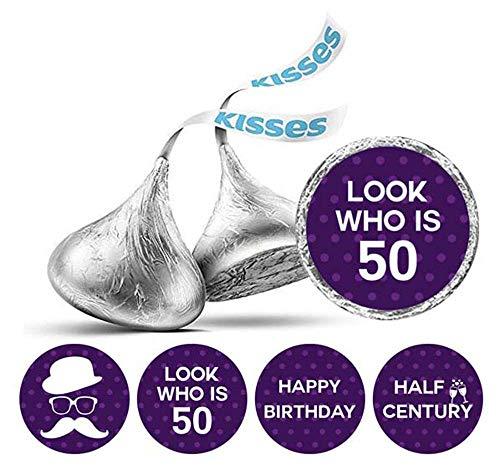Darling Souvenir Schauen Sie, wer 50 Geburtstag Aufkleber 190 Stück für Hershey Kisses Süßigkeit Labels-Lila
