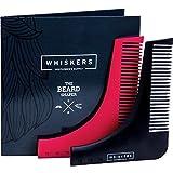 ➡️ Modellabarba con forbici per Naso e Guida Utente per Uomo by Whiskers | L'innovativo kit per la cura della barba Kit da Barba con Modello per Linee perfette | Ideale per barbe lunghe e corte e per Tanti Stili (Nero) immagine