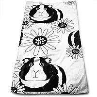 ewtretr Toallas De Mano,Guinea Pigs Black Cool Towel Beach Towel Instant Gym Quick Dry