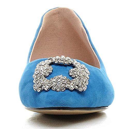 Damenschuhe Pumps Spitze Zehen Flach Schuhe Rhinestone Rutsch Blau