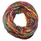 styleBREAKER patrón de la pluma del estilo del batik bufanda tubo de bucle, el desplome y la arruga, sedoso y ligero 01016064, color:colorido