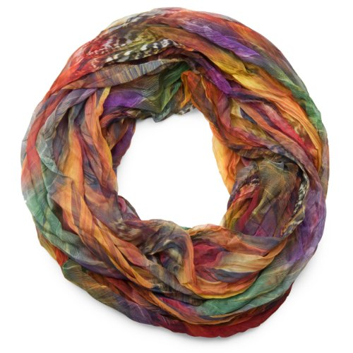 styleBREAKER Feder Muster Batik Style Loop Schlauchschal/Crash and Crinkle/seidig leicht 01016064, V2, Farbe:Bunt -
