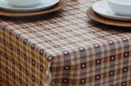 Tablecloth 139,7x 139,7cm (1.4x 1,4m) Tischdecke, PVC/Vinyl, quadratisch-Schokolade Braun & Creme Herzen mit Sonnenschirm Loch - Tischdecke Schokolade Quadratische