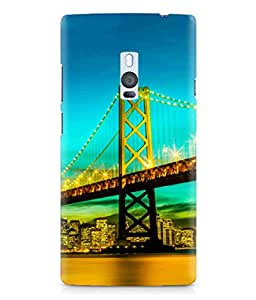 One Plus Two Beautiful Paris Bridge Animation Printed Back Cover Hybrid Strong Polycarbonate Hard Case Cover With Premium Quality and Matte Finish by Print Vale