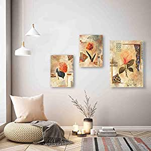 SAF Flower Designer Set of 3 UV Textured Painting (1 Pc.:-12 X 18 Inches and 2 Pc:- 9 X 12 Inches, SAF_9X18_03)