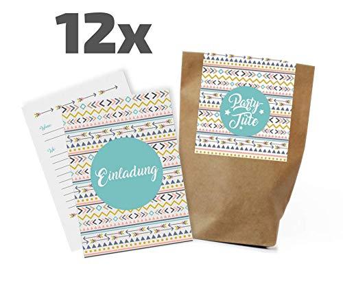 12 Boho / Flower Power Einladungskarten/Partytüten Set zum Kindergeburtstag / Party / Mitgebseltüten / Geschenktüten / Give-aways / Einladungen / Geburtstag / Kinder / Jungen / Mädchen