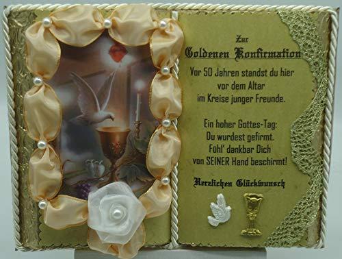 Goldene Konfirmation, 50-jähriges Firmjubiläum - Dekobuch (mit Holz-Buchständer), Schmuckbücher für alle Anlässe