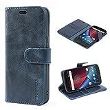 Mulbess Handyhülle für Moto G4 Hülle, Moto G4 Plus Hülle, Leder Flip Case Schutzhülle für Motorola Moto G4 / G4 Plus Tasche, Dunkel Blau