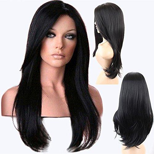 Luckhome Lange Gerade Synthetische Cosplay Perücken Für Frauen Kostüm Lose Perücke Front Lockige Volle Naturhaarperücken Perrücke Wig Haare Wigs(C)