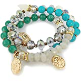Nobel-Schmuck Bracelet Agate - Color Gold Turquoise Grey Green - Jewelry Bag