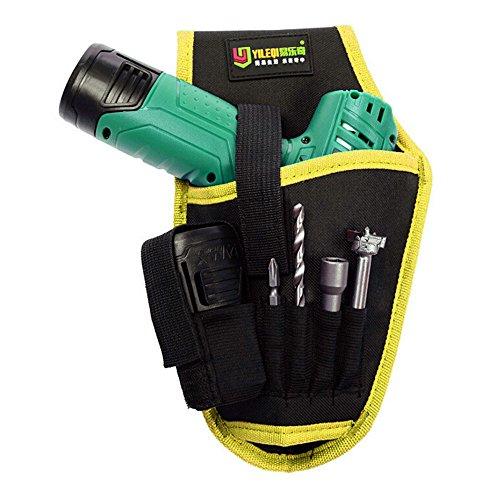 kingko Gürteltasche kit elektrische bohrtasche Portable Akku Bohrmaschine Halter Holster Werkzeugtasche Bohrer Taille Werkzeug Oxford Tasche (Gelb) -