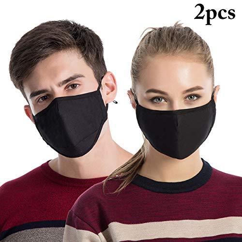 WARDE 2pcs koreanischen Stil Maske auf den Mund Anti Staub Mundmaske Aktivkohlefilter Mund-Muffel-Maske Anti PM2.5 Stoff Gesichtsmaske, schwarz,> 8Y