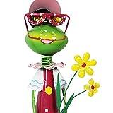 com-four® Dekofigur große Froschdame mit Blumen, Gartenfigur aus bunt lackiertem Metall im Frosch-Design, ca. 68x16,5x16,5cm - 3