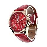Valentinstag Uhren Dellin Neue Damenmode Genf Römischen Ziffern Kunstleder analoge Quarz-Armbanduhr (Rot)