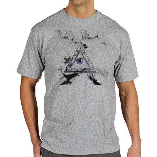 Illuminati Triangle Art Majestic Old Vintage Wall Edition Background Herren T-Shirt Grau