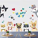 Adesivi Murali Adesivi murali cane simpatico cartone animato divertente cucciola animale camera dei bambini camera dei bambini adesivo per finestra in vetro Adesivo murale fai da te in vinile decorazi