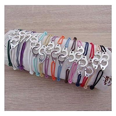 Bracelet cordon et menotte argenté