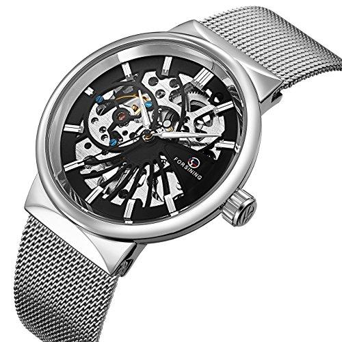 affute Mechanische Herren Uhren CLASSIC dünn Skelett Silber Ton Mesh Edelstahl-Band automatische aufziehbar Analog Armbanduhr