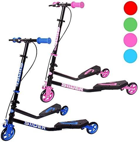 iScoot© Pro Slider Tri Push Swing Scooter Winged Speeder Tri Wheel 3 Wheel Kick Scooter Bobbi Board for Boys / Girls / Children Kickboard - Pink