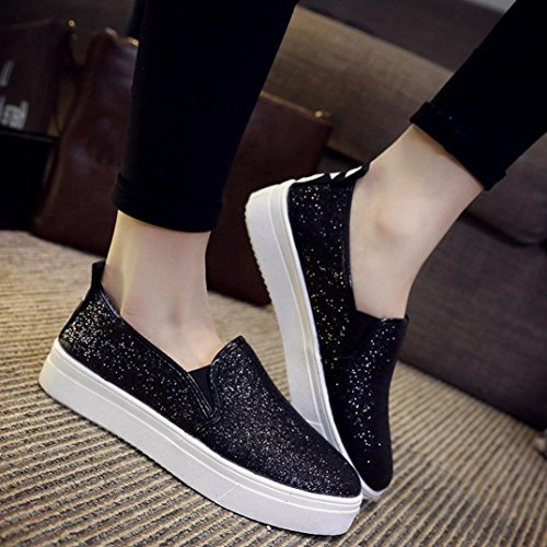 SOMESUN Women's Spring Flat Shoes, Primavera Casual Scarpe Basse Donna Slip-On Paillettes Mocassino Black