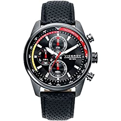 Leder-Mann-Uhr Viceroy 46671-57 Chronograph Steel Grey IP