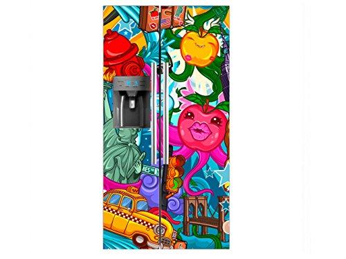 Vinilo Frigorífico Americano Caricatura Nueva York | 91x176cm | Varias Medidas |...