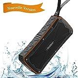 Enceinte Bluetooth Portable Sans Fil 12W, NickSea Enceinte Portable SoundBox Haut-Parleur Profond Basse Stéréo Avec / Bluetooth 4.1 / 27 Heures d'Autonomie en Lecture/ Etanche IP6/ Mains Libres Téléphone/ Double Pilites Subwoofer- Orange