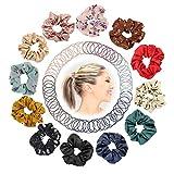 DazSpirit Pferdeschwanz Halter 112 Value Pack - 12 Chiffon Haar Scrunchies Haargummis Haarbänder und 100 Stück Mehrfarbiges Dünnes Gummiband für Mädchen und Frauen