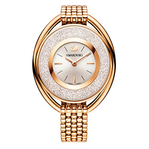 Swarovski crystalline oval rose gold tone braccialetto watch