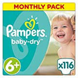 Pampers Baby-Dry 116 Nappies with 3 Absorbing Channels, 16+ kg, Size 6+