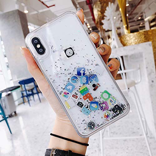 VIWIV Anwendbare iPhone Case Xs Max Apple App Icon Quicksand Xr Protective Cover Persönlichkeit 6 6S 7 8 Plus Mobile Phone Shell Wear All-Inclusive Anti-Fall Novelty,Silver,iPhone6plus/6Splus - Icon Handy