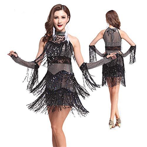 Susulv-NSUD Damen Performance Kleid Frauen Dancewear Sleeveless Neckholder Pailletten Fransen Quasten Ballsaal Samba Tango Latin Dance Kleid mit Hand Ärmeln Wettbewerb Kostüme Lateinischer Tanzrock
