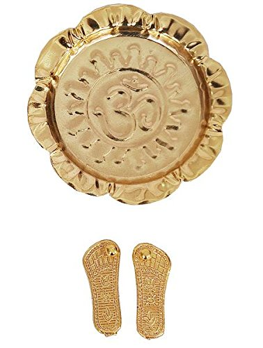 Indigo Creatives Diwali Lakshmi Brass Mini Paduka Puja Thali Gift  available at amazon for Rs.179